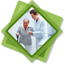 caregiver assisting patient