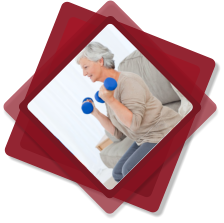 caregiver assisting patient in doing exercise